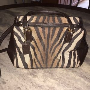 Coach purse Brown zebra print